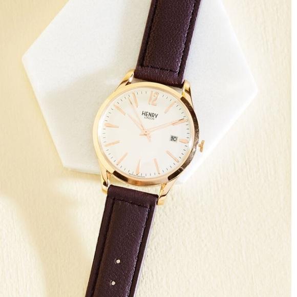 Henry London 2016 ladies watch, gold and plum